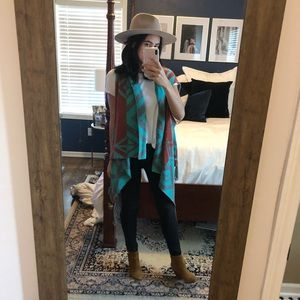 Forever 21 Turquoise, Rust, and Grey Sweater